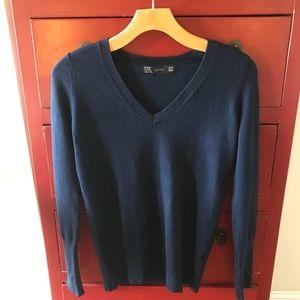 Zara NWOT Sweater Top + Buttons on Cuffs Navy M